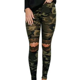 High waist elastic hollow lace camouflage casual pants