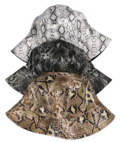 Pu double faced fisherman hat with orijuki snake skin pattern