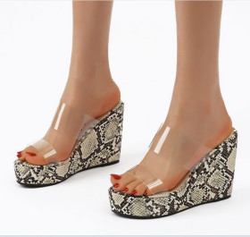 Snake pattern transparent rubber sandals with high heels