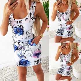 Sexy print round neck and waistband dress