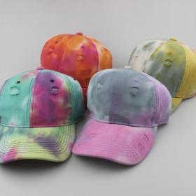 Tie dye gradient color used to make old broken baseball cap