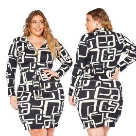 Printed long sleeve lace up dress