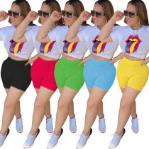 Casual lip print round neck short sleeve T-shirt top and shorts two piece set