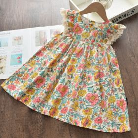 New Fashion Sweet Kids Flowers Costumes Children Sleeveless Vestidos Toddler Baby Clothing 1 order
