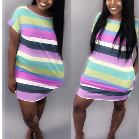 Candy rainbow patchwork sexy dress