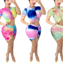 Tie dye drawstring pleated top short skirt two piece set