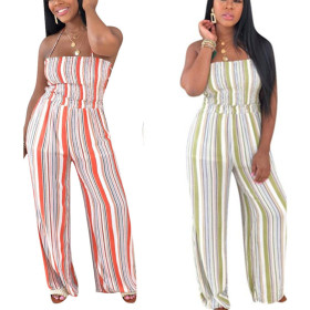Fashion casual pleated print sexy suspender straight pants