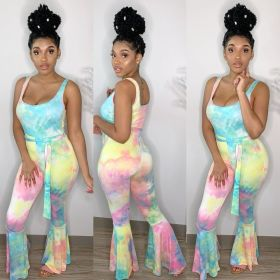 Fashion tie dye flare Jumpsuit casual pants