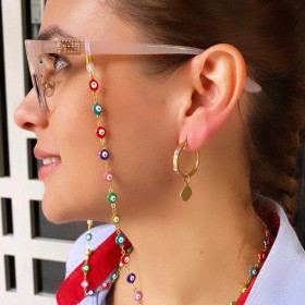 Metal rimmed eyeglasses chain sunglasses accessories