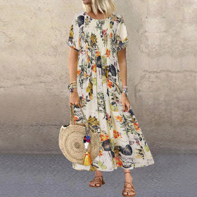 Round neck short sleeve cotton linen loose print pleated long dress