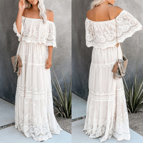 High waist open back one word shoulder hook flower hollow lace dress