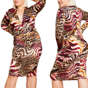 Fashionable V-neck Leopard Dress