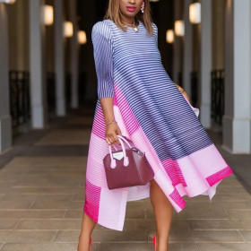 Directional print stripe color block irregular dress