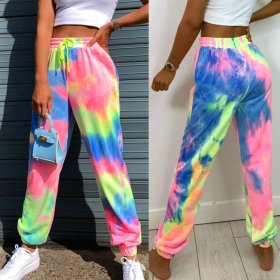 High waist elastic tie dye printing hot casual pants