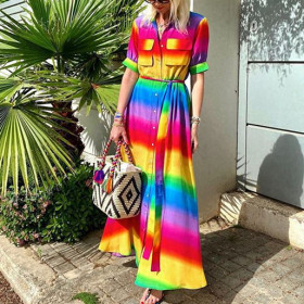 Mid sleeve rainbow dress casual long skirt