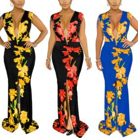 Sexy fashion sleeveless V-neck print panel dress