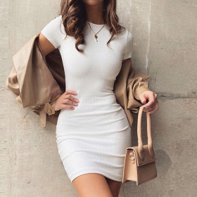 Solid pit slim sexy short sleeve hip pack dress