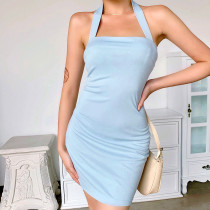 Cross neck solid Mini Dress