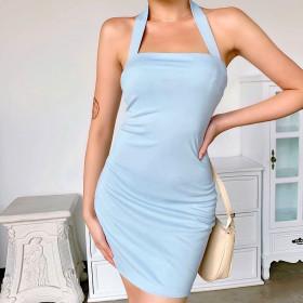 Cross neck solid Mini Dress