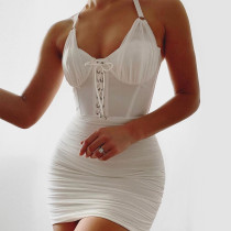 Halter white mesh pleated halter dress slim sexy dress