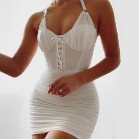 Halter white mesh pleated halter dress slim sexy dress