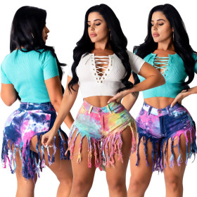 Tassel ground tie dye imitation denim shorts women's jeans