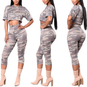 Casual camouflage printed short sleeve shorts two piece set