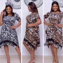 Dress with leopard pattern and mesh small split commuter large dress