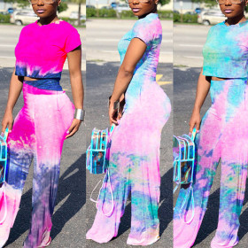 Fashion women's colorful tie dye casual two piece set