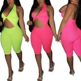 Fashionable solid color leisure home Jumpsuit