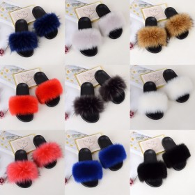 Fox like fur and grass slippers, women's summer fashion one word slippers, raccoon dog like hair, wearing beach shoes, casual sandals