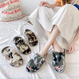 Camouflage elastic belt wool slippers