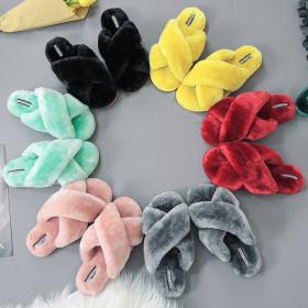 Large non slip comfortable sheep cake warm wool cotton slippers
