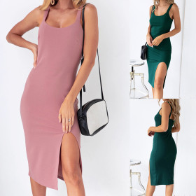 Soft and thin suspender with split buttock dress