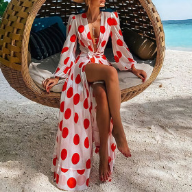 Polka Dot Chiffon Beach Resort dress