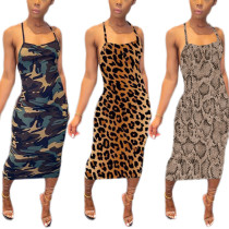 Tricolor printed Halter Dress