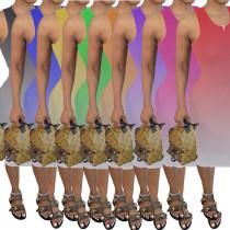 Fashion casual suspender sleeveless Pleated Dress