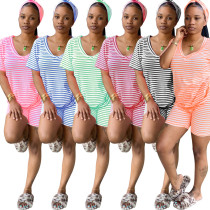 Two piece nightclub suit with head scarf in family stripe trousers