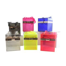 Jelly bag fashion transparent acrylic handbag dinner bag chain bar small square Bag Messenger Bag