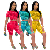 Fashion casual tie dye printed Shorts Set in two pieces
