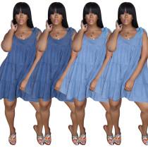 Blue denim shoulder bandage dress
