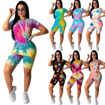 Two piece tie dye printing set for leisure sports