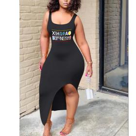 Sexy fashion lettered open back sleeveless dress