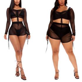 Sexy fashion mesh stitching suit