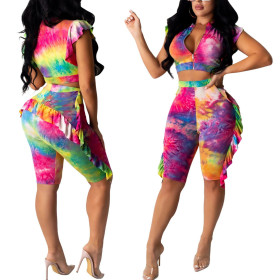 Sexy hot fashion two piece digital printing suit