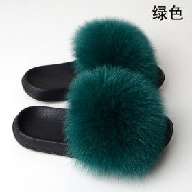 Fashion and non slip slip slip slip on fur casual flat heel beach shoes fox fur women's sandals
