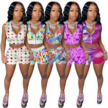 Fashion casual women's multi color printing suit