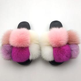 Flip flop fashion fox raccoon dog fur sandals