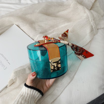 Fashionable portable small round bag Korean foreign style silk scarf Messenger Shoulder Bag