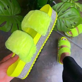 Slippers water drill thick bottom wool slippers